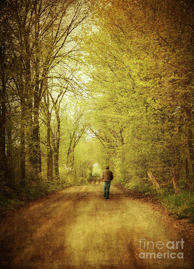 Afternoon Photograph - Man Walking  On A Lonely Country Road by Sandra Cunningham