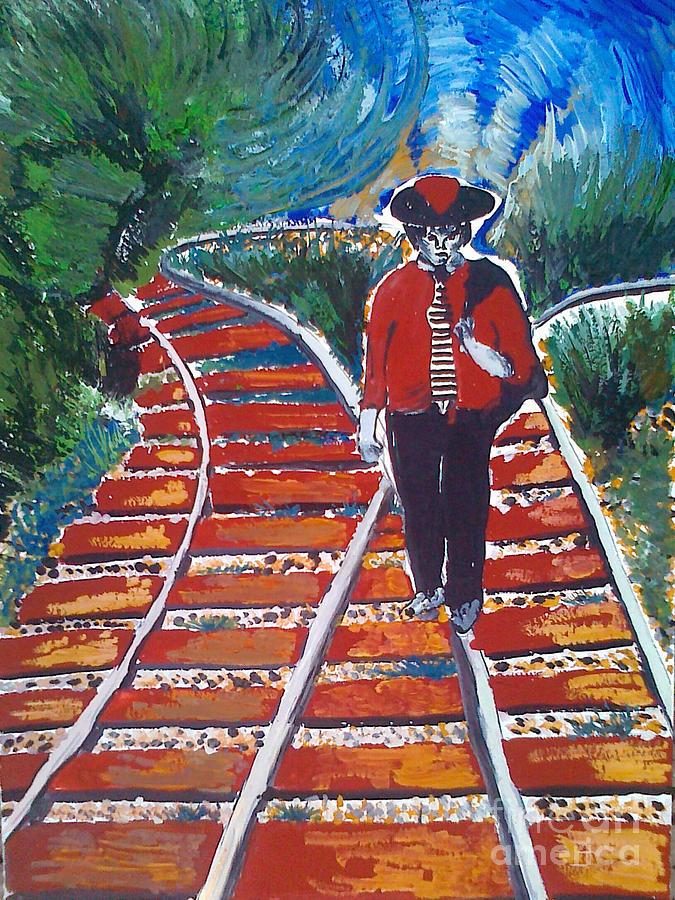 Painting Painting - Man Walking On Rails by Ivan Ivanov