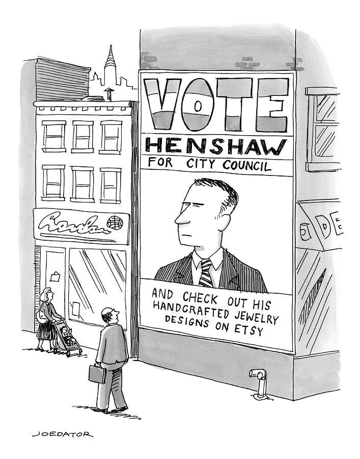 Vote Henshaw Drawing by Joe Dator