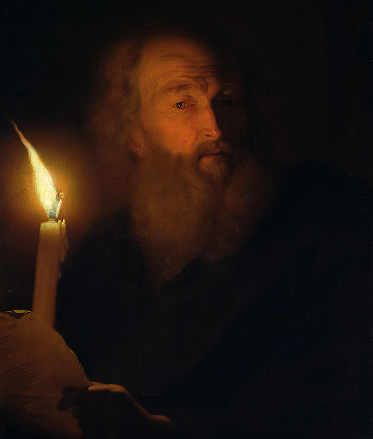Or Painting - Man With A Candle by Godfried Schalken