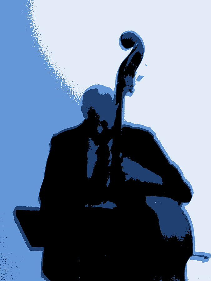 Double Bass Photograph - Man With Upright Bass In Blue by Mike McCool