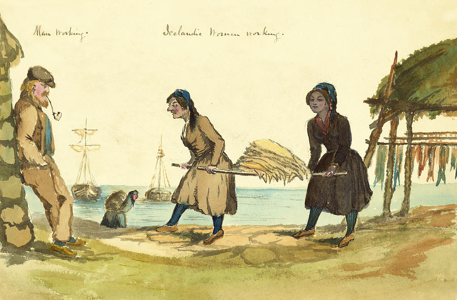 Faroese Painting - Man Working And Icelandic Women Working Circa 1862 by Aged Pixel