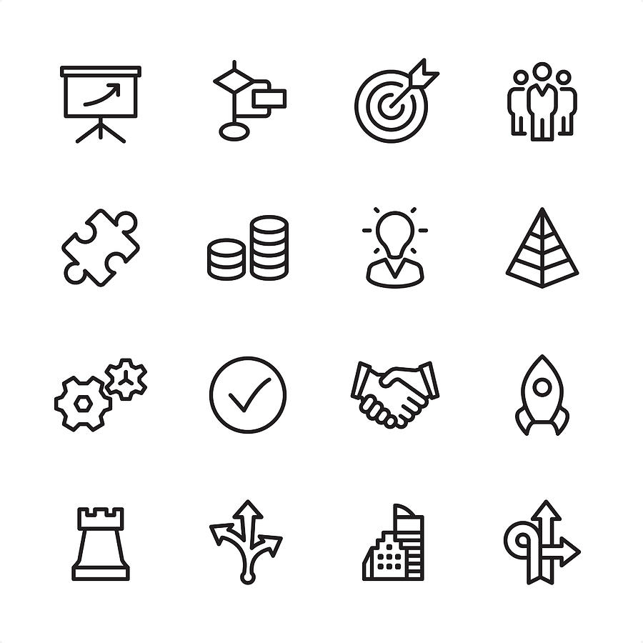 Management - Outline Icon Set Drawing by Lushik