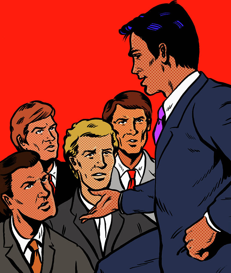 Manager Speaking To Unhappy Businessmen Digital Art by Jacquie Boyd