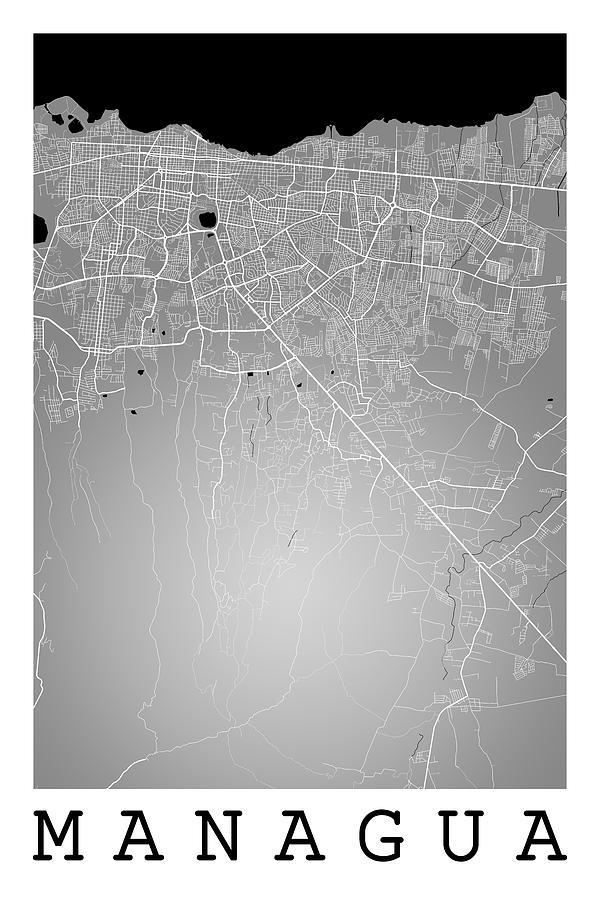 Managua street map managua nicaragua road map art on color digital road map digital art managua street map managua nicaragua road map art on color publicscrutiny Image collections