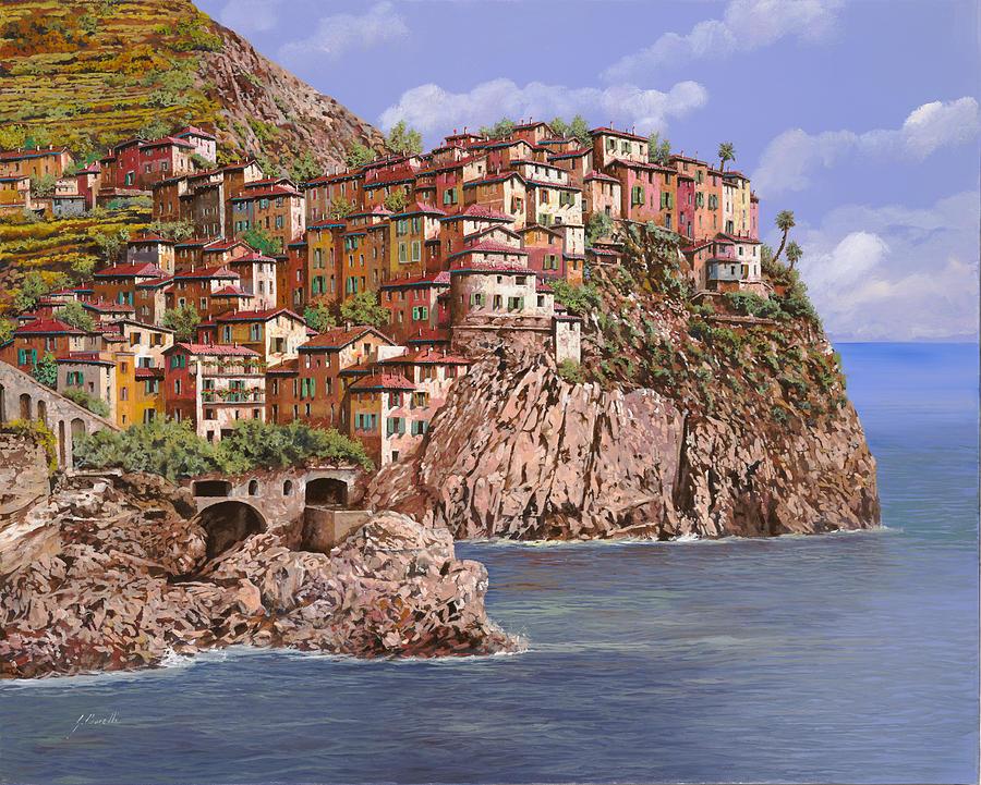 Seascape Painting - Manarola   by Guido Borelli
