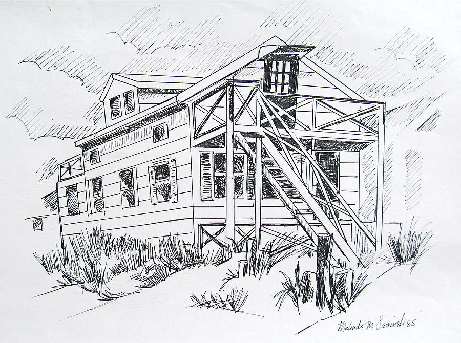 Manasquan beach house sketch drawing by melinda saminski for Beach house drawing