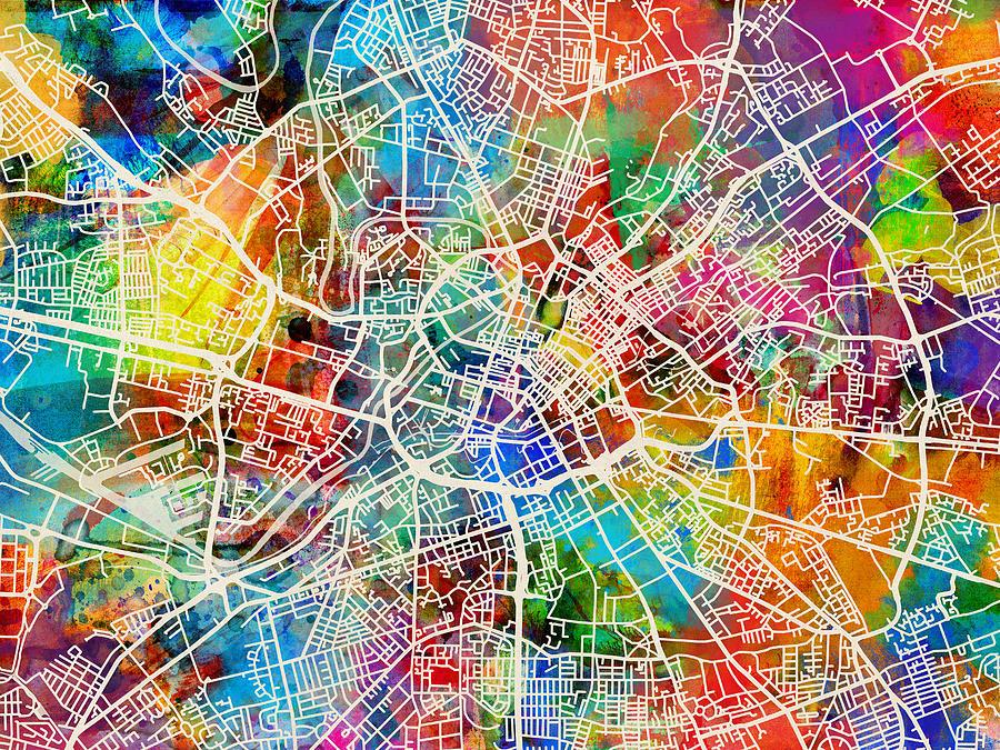 manchester england street map digital art by michael tompsett