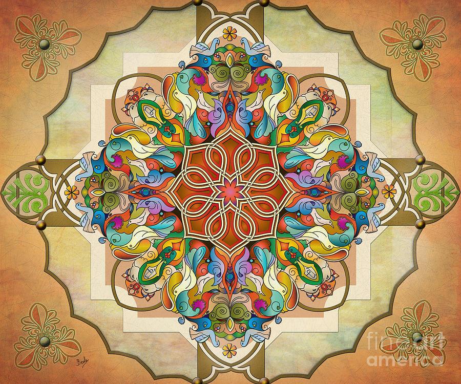 Mandala Digital Art - Mandala Birds Sp by Bedros Awak
