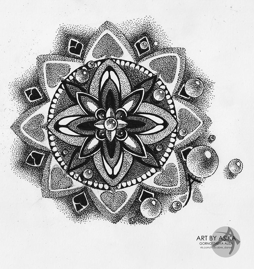 Mandala Dotwork Tattoo Sketch Drawing By Alisa Gornostaeva