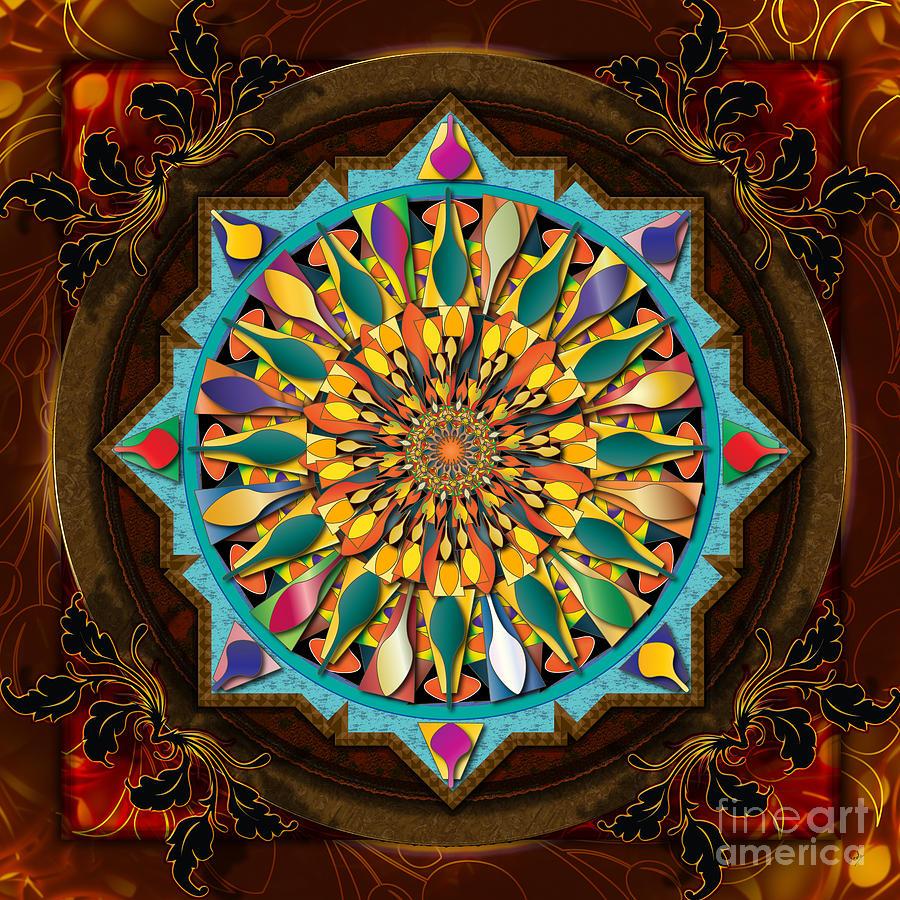 Mandala Digital Art - Mandala Droplets by Bedros Awak