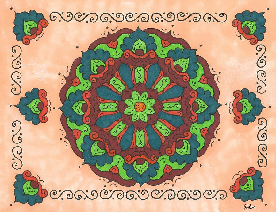 Folk Painting - Mandala Love by Susie WEBER