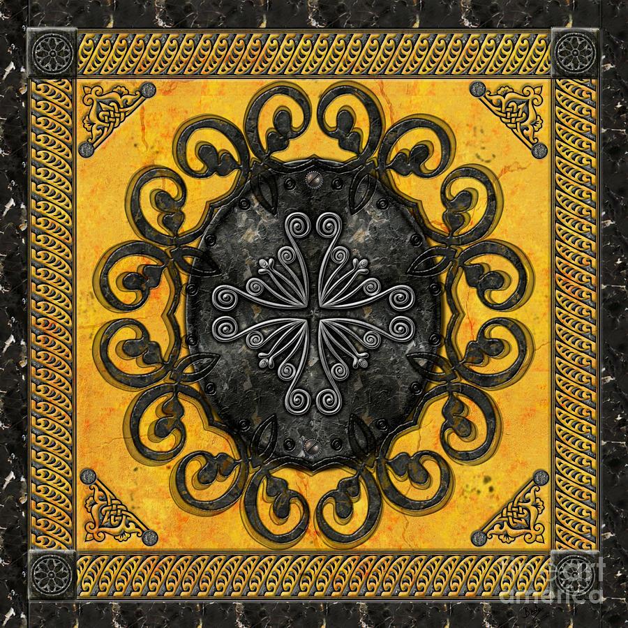 Mandala Digital Art - Mandala Obsidian Cross by Bedros Awak