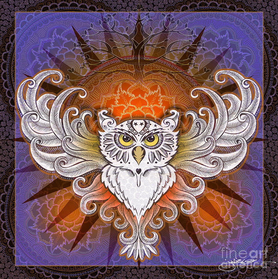 Mandala Owl Mixed Media By Julie Oakes
