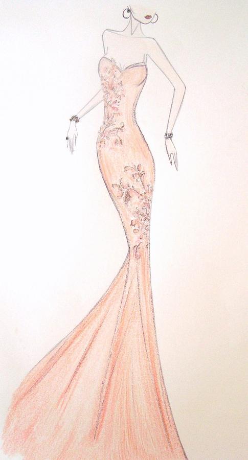 Fashion Illustration Drawing - Mandarin Grace by Christine Corretti
