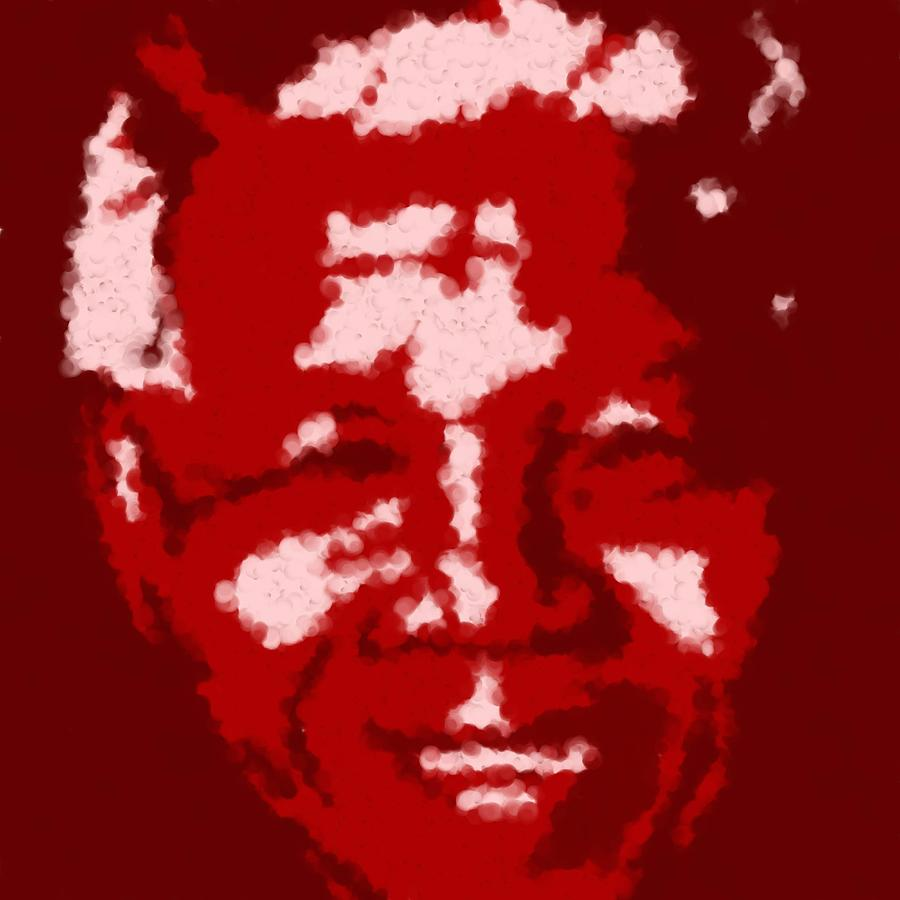 Mandela South African Icon  Red In The South African Flag Symbolizes The Struggle For Freedom Painti Digital Art by Asbjorn Lonvig