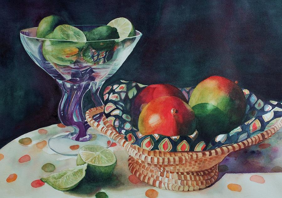 Still Life Painting - Mango With A Twist Of Lime by Leslie Berman