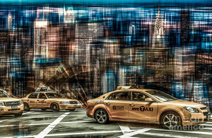 Nyc Photograph - Manhattan - Yellow Cabs - Future by Hannes Cmarits