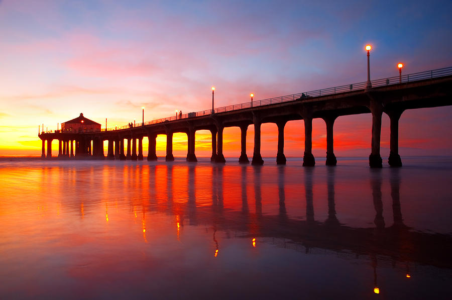 Manhattan Beach Wallpaper: Manhattan Beach Pier Photograph By Darren Bradley