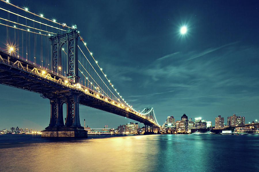 Manhattan Bridge In Night With Moon Photograph by Ricowde