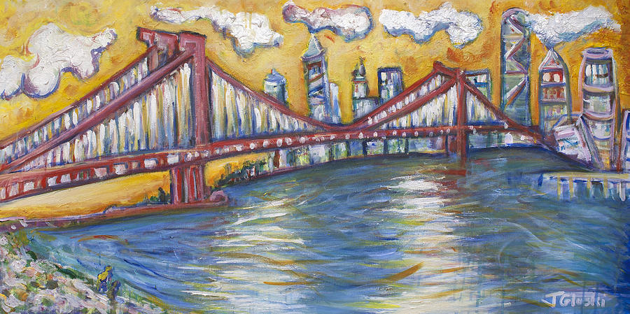 Nyc Painting - Manhattan Bridge by Jason Gluskin