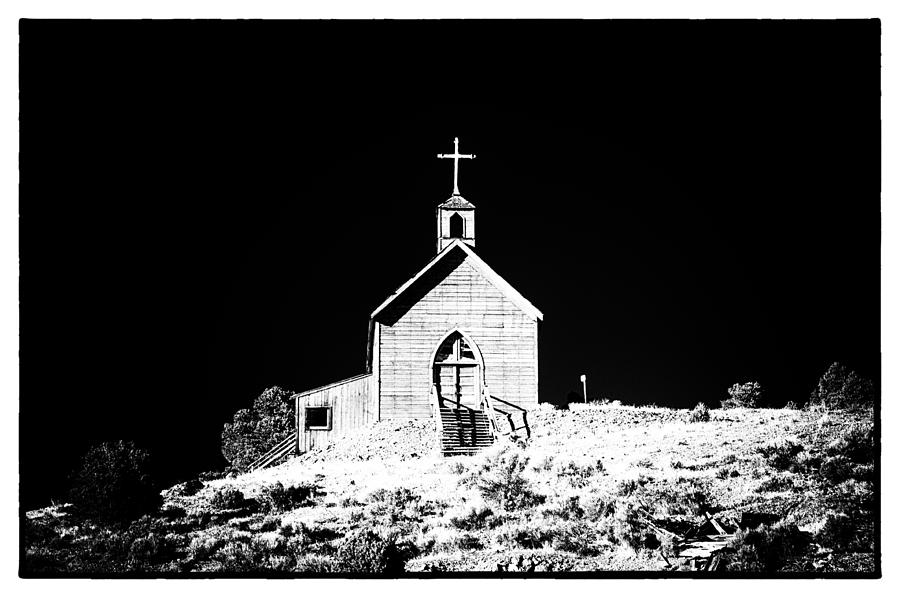 Church black And White Abandoned Old Building Architecture Nevada Photograph - Manhattan Church High Contrast by Cat Connor