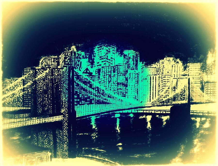 Brooklyn Bridge New York Bridge Abstract Drawing - Manhattan In Blue by Irving Starr