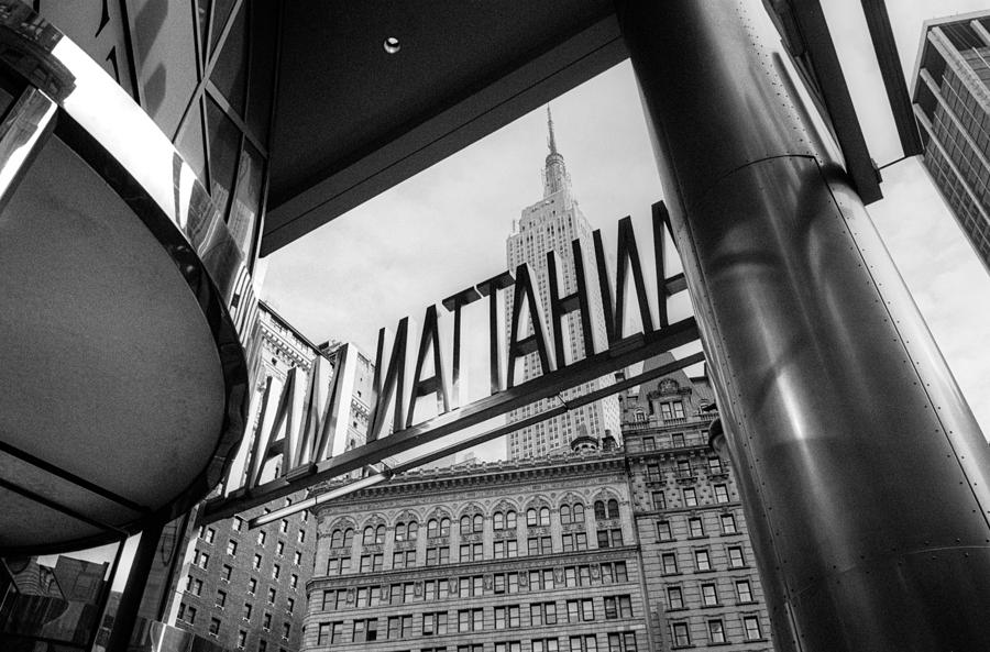 Nyc Photograph - Manhattan Mall Sign by Dave Beckerman