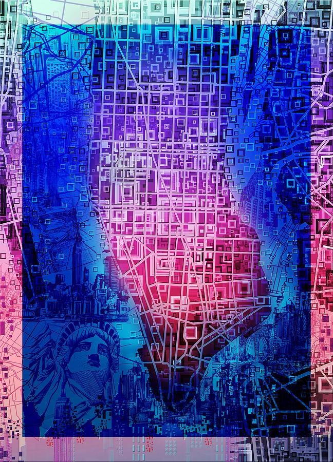 Manhattan Map Painting - Manhattan Map Abstract 5 by Bekim M