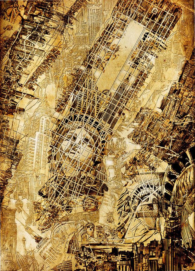 Manhattan Map Painting - Manhattan Map Antique by Bekim Art
