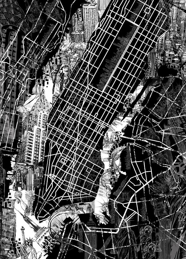 Manhattan Map Black And White Painting By Bekim Art