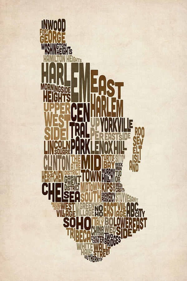 Manhattan Map Digital Art - Manhattan New York Typography Text Map by Michael Tompsett
