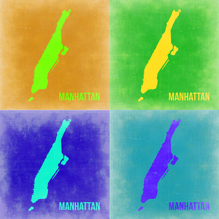 Manhattan Map Painting - Manhattan Pop Art Map 2 by Naxart Studio