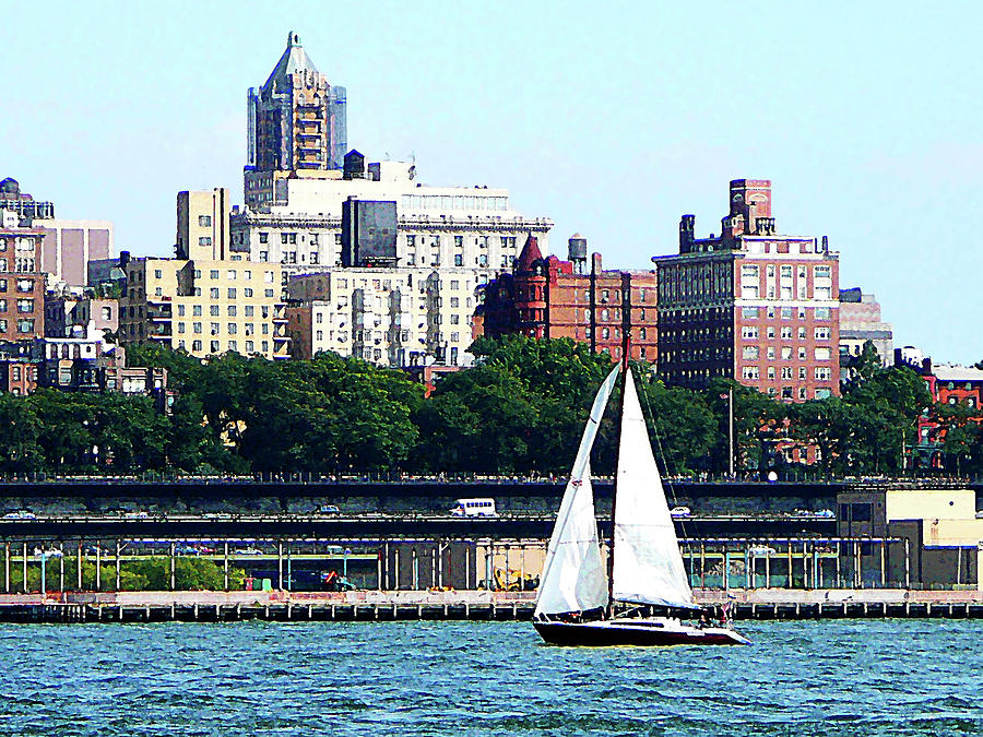 Boat Photograph - Manhattan - Sailboat Against Manhatten Skyline by Susan Savad