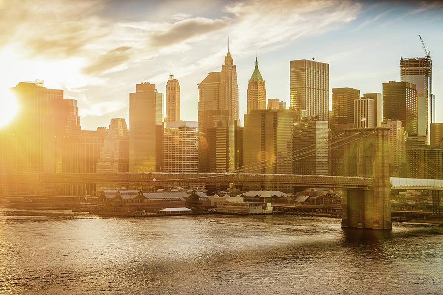 Manhattan Skyline At Sunset New York Photograph by Mlenny