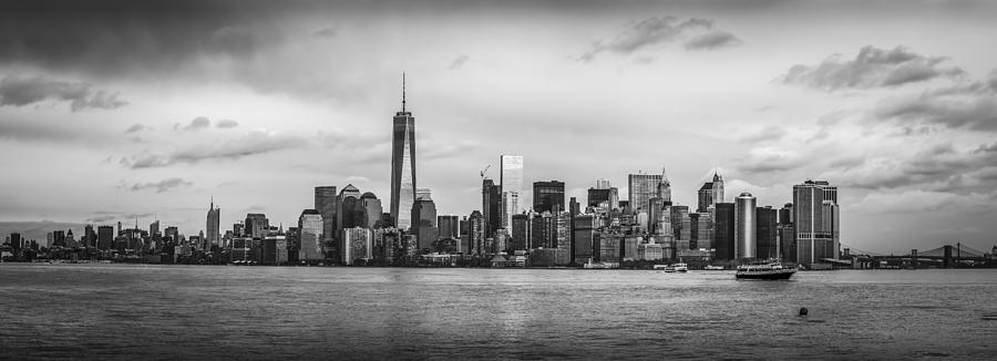 Manhattan Skyline Black And White Photograph by David Morefield