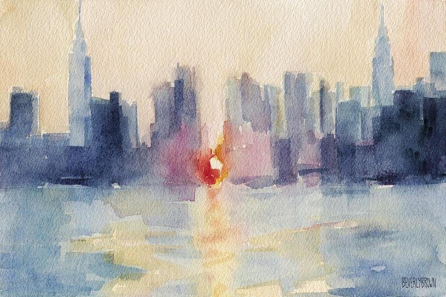 New York Painting - Manhattanhenge New York Skyline Painting by Beverly Brown