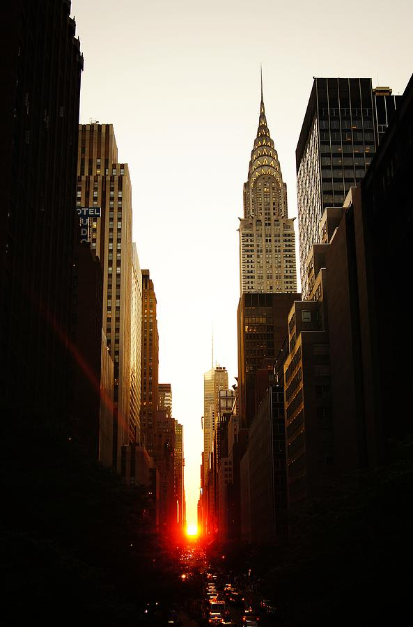 New York City Photograph - Manhattanhenge Sunset And The Chrysler Building  by Vivienne Gucwa