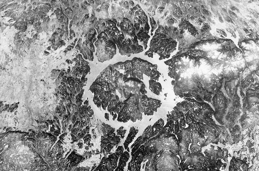 The Largest And Oldest Crater Manicouagan Crater Photograph - Manicouagan Crater by Anonymous