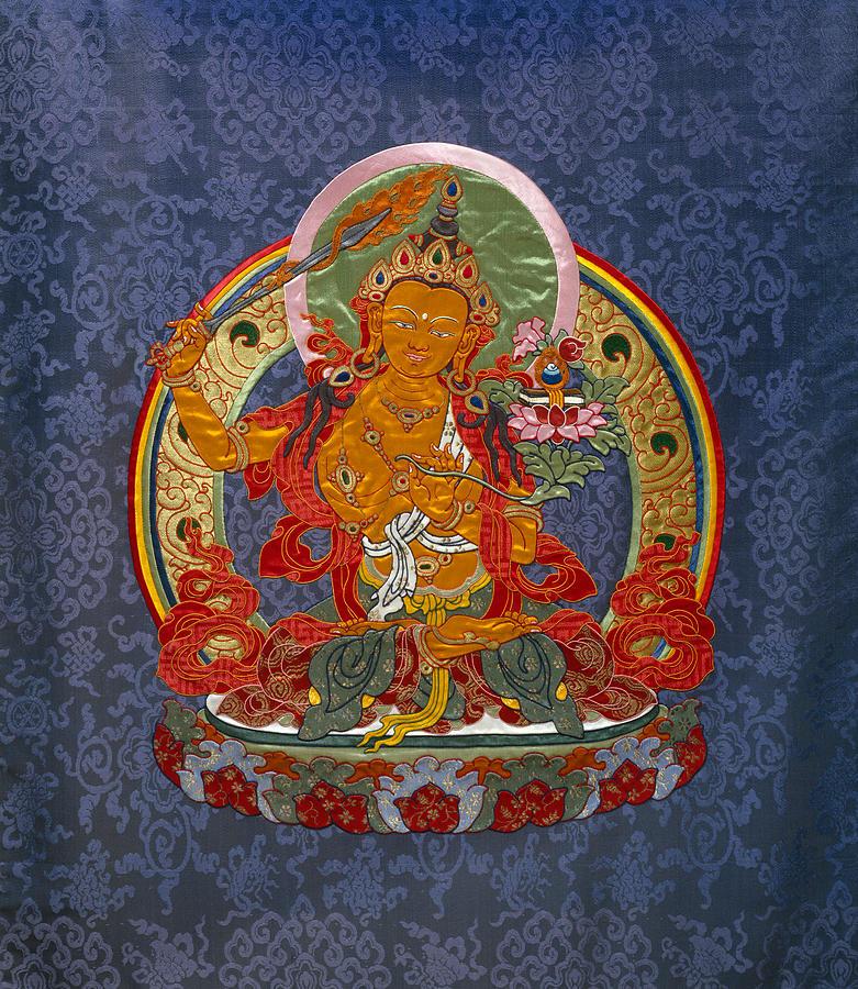 Manjushri Tapestry - Textile - Manjushri by Leslie Rinchen-Wongmo