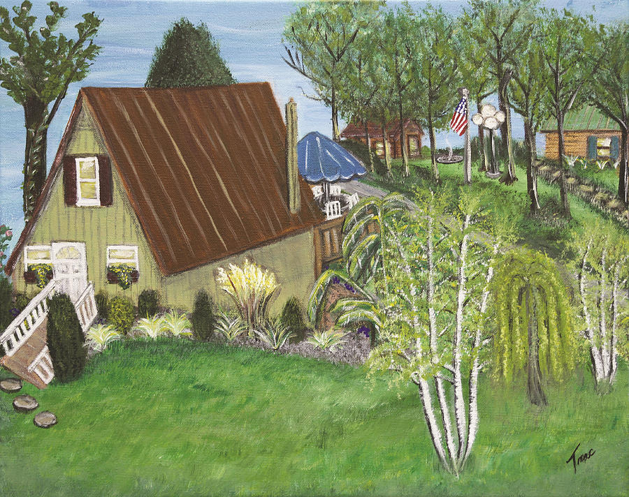 Cottage Painting - Mannels Lake House  by Teresa French McCarthy