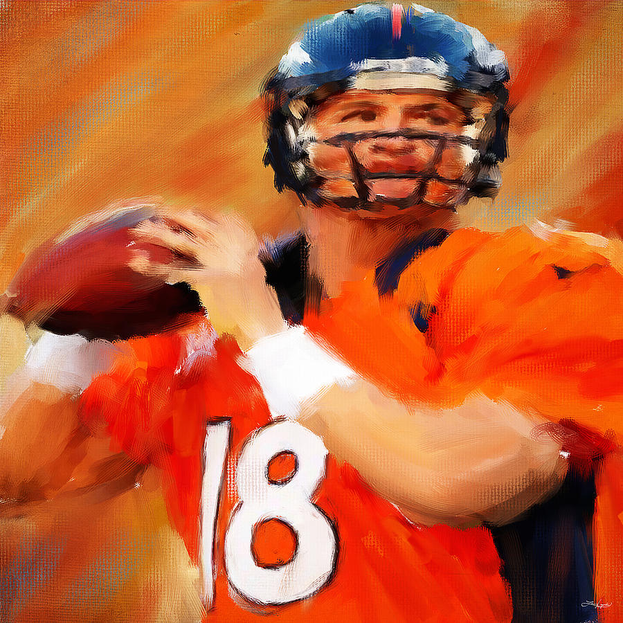 Peyton Manning Painting - Manning by Lourry Legarde