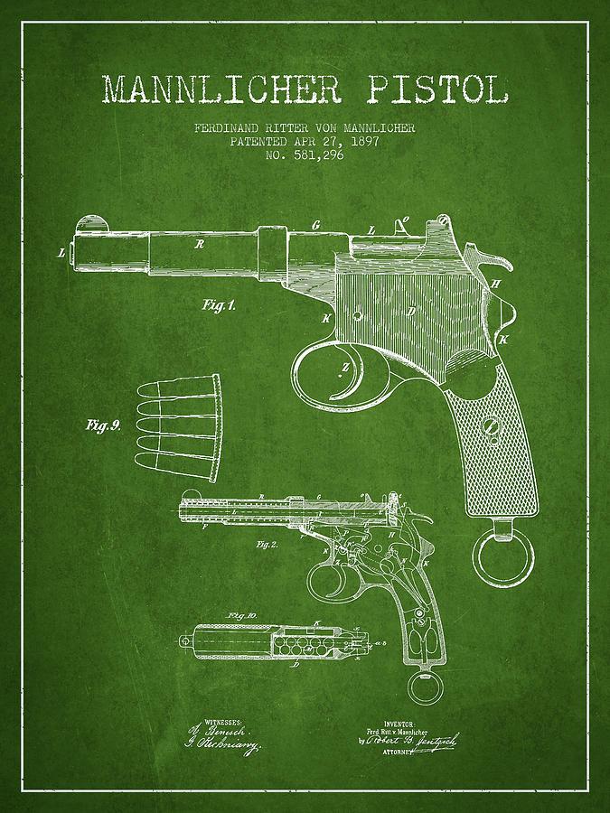 Mannlicher Pistol Patent Drawing From 1897 - Green Digital Art