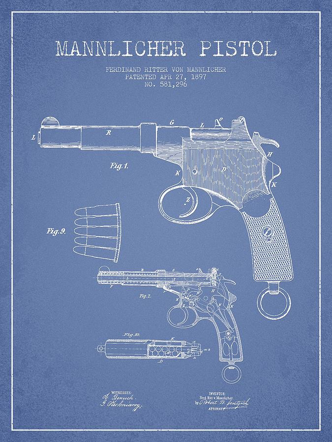 Mannlicher Pistol Patent Drawing From 1897 - Light Blue Digital Art