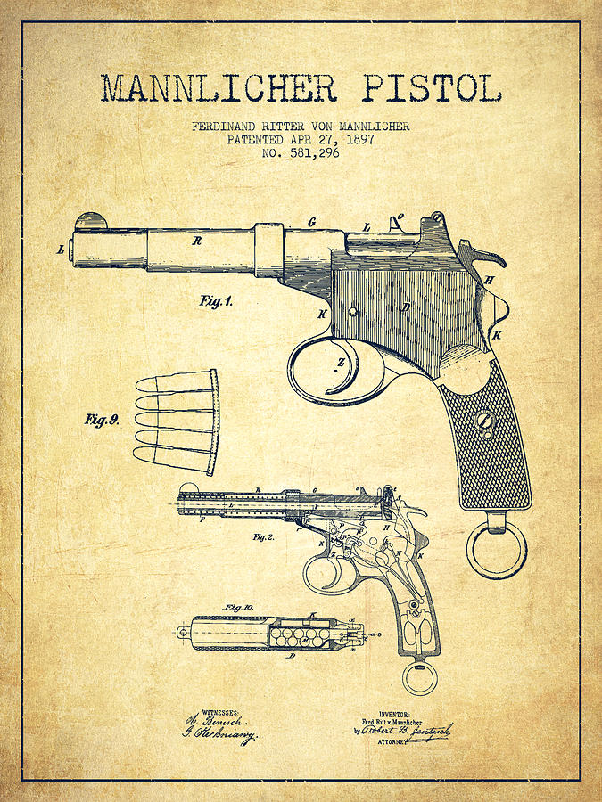 Revolver Digital Art - Mannlicher Pistol Patent Drawing from 1897 - Vintage by Aged Pixel