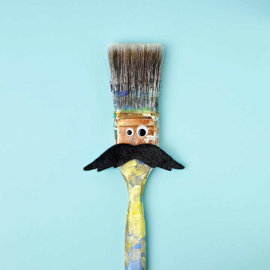 Googly Eyes Photograph - Mans Face Crafted Onto Paintbrush by Juj Winn