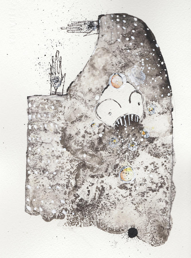 Ink Painting - Mans Worship Of The Unknown With Uncanny Fever Hark Hark by Mark M  Mellon