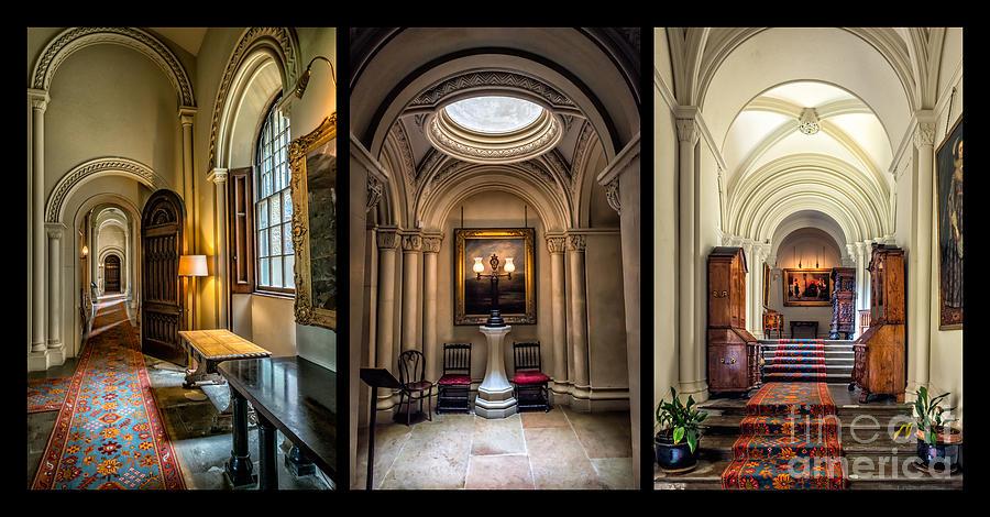 British Photograph - Mansion Hallway Triptych by Adrian Evans