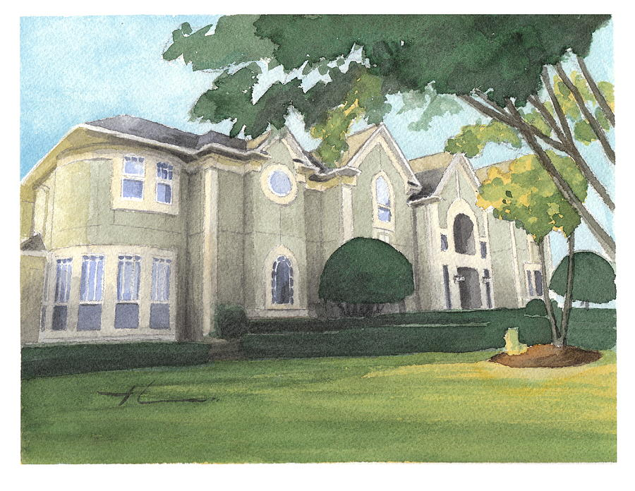 Mansion Watercolor Portrait Painting by Mike Theuer