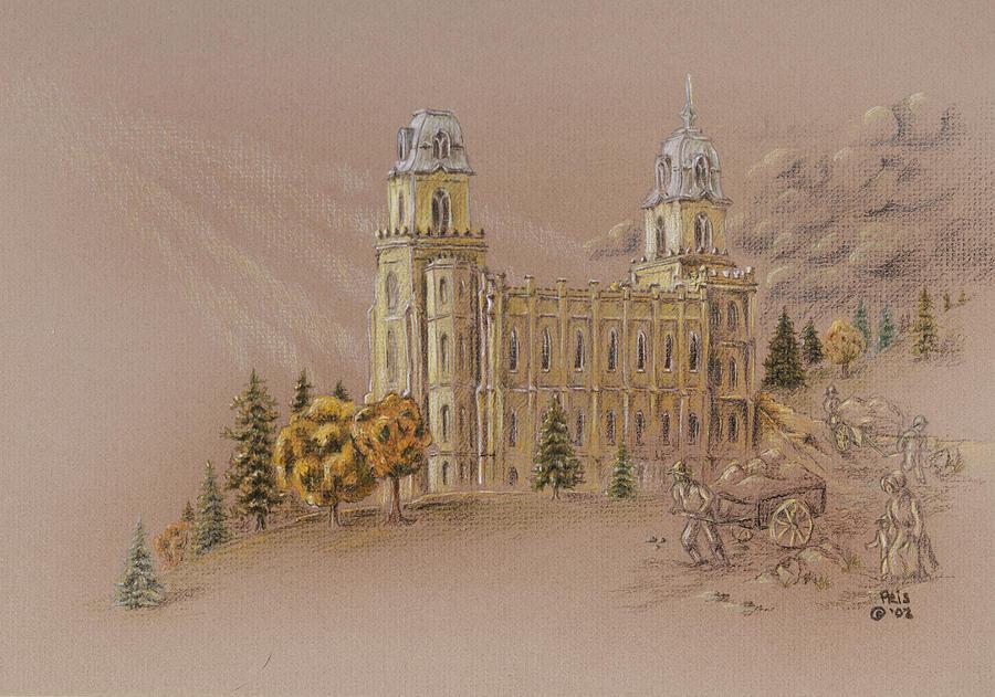 Manti Utah Lds Temple Drawing by Pris Hardy